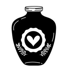 Silhouette mason jar with heart sticker and vector