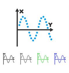 Sine plot flat icon vector