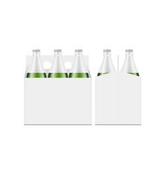 six-pack green bottle carrier box mockup vector image