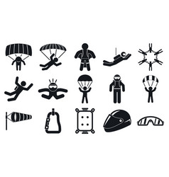 skydivers icons set simple style vector image