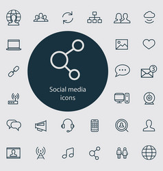 social media outline thin flat digital icon set vector image