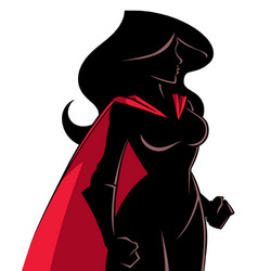 superheroine side profile silhouette vector image