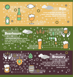 thin line art beer web banner template set vector image