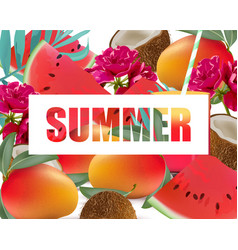 Tropic fruits exotic pattern summer vector