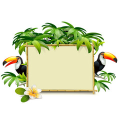 Tropics frame with toucan vector