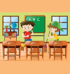 Two boys cleaning the classroom vector
