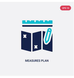 Two color measures plan icon from construction vector