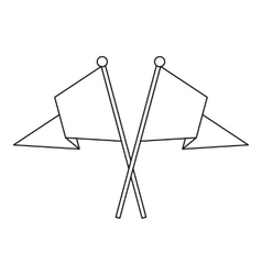 Two crossed flags icon outline style vector