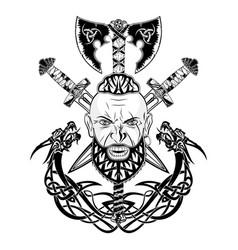 Viking totem dragon 0001 vector