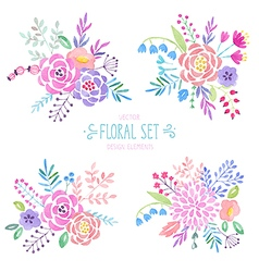 Watercolor floral set vector image