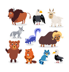 Wild north america animals set in flat style vector