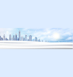 winter background snowy city landscape horizontal vector image