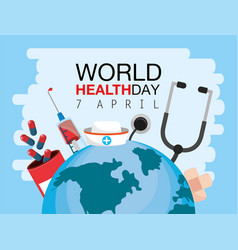 World health day with stethoscope and medicine vector