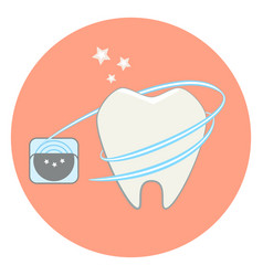 cute flat tooth and dental floss icon vector image vector image