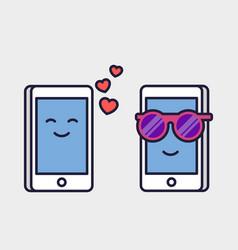 loving mobile phones romantic correspondence vector image vector image