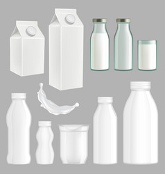 realistic creative milk packaging design vector image