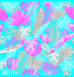 tropical summer print with exotic leaves and vector image