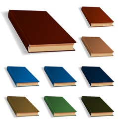 Blank books set nine different colors vector image vector image