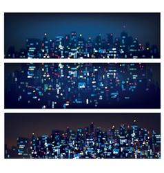 city banners night vector image vector image