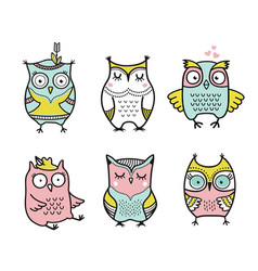 cute cartoon hand drawn owls set vector image vector image