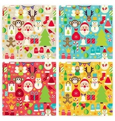 Four Flat Happy New Year Patterns Set vector image vector image