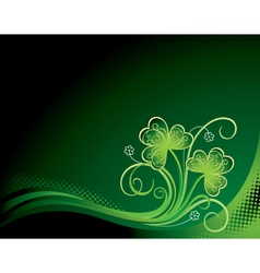 patrick floral background with shamrock vector image