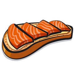 sandwich with salmon vector image vector image