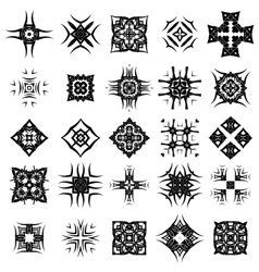 Set of Different Tribal Rosettes Tattoo Design vector image