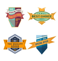 set of logo retro ribbon labels and vintage vector image