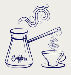 traditional coffeemaker and cup vector image