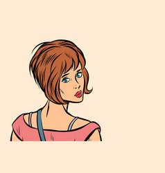 woman looking back over shoulder vector image