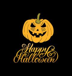 pumpkin with happy halloween vector image