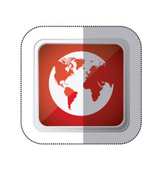 sticker red square button with silhouette globe vector image