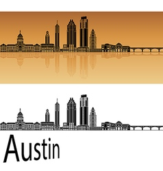 Austin skyline in orange vector image vector image