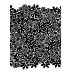 black pattern with white contour flowers set vector image