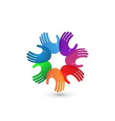 Colorful hands teamwork logo vector image vector image