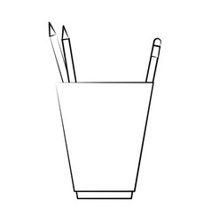 cup with pencils office supplies icon image vector image