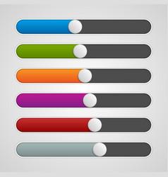UI sliders colors set Volume controls Interface vector image