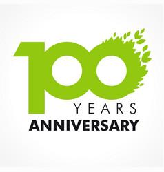 100 anniversary leaves logo vector