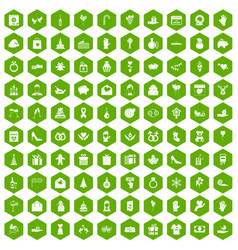 100 gift icons hexagon green vector