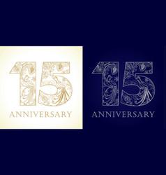 15 anniversary vintage silver gold vector