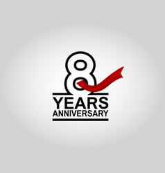 8 years anniversary logotype with black outline vector