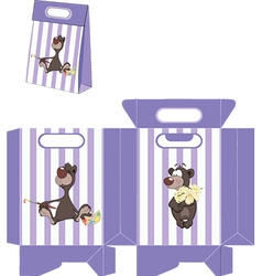 A brown bear handbags packages pattern vector