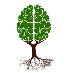 A tree in the form of a human brain two vector
