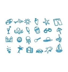 Beach doodle icons vector