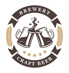 beer cups emblem vector image
