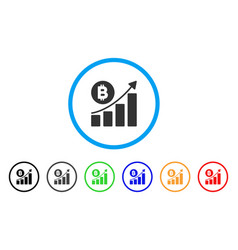 bitcoin growing trend rounded icon vector image