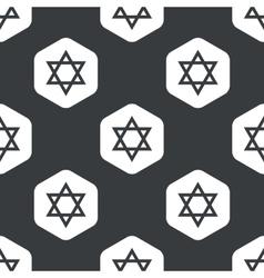 Black hexagon Star David pattern vector