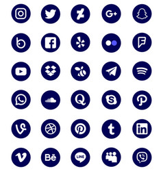 blue and rounded popular social media icon set vector image