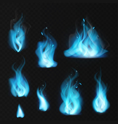 blue flame burning fiery natural gas hot vector image